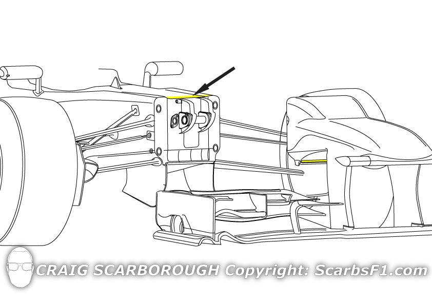 The V-Shape to the chassis creates the rear facing slot (arrowed)