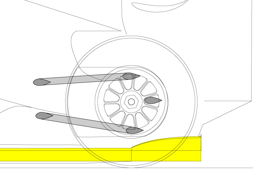 The lower wishbone is mounted very close to the diffuser
