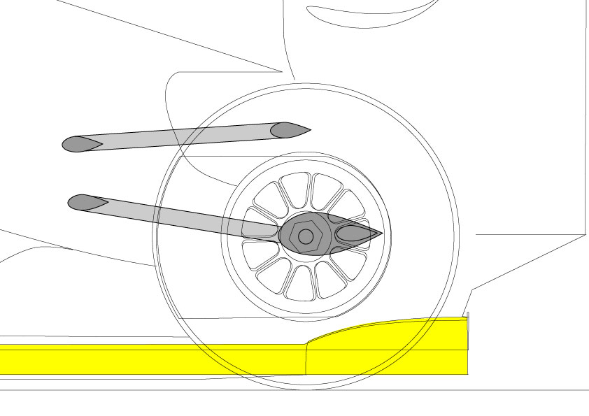 With the raised wishbones, the space above the diffuser is apparent as is the top wishbone mounting being above the wheel rim