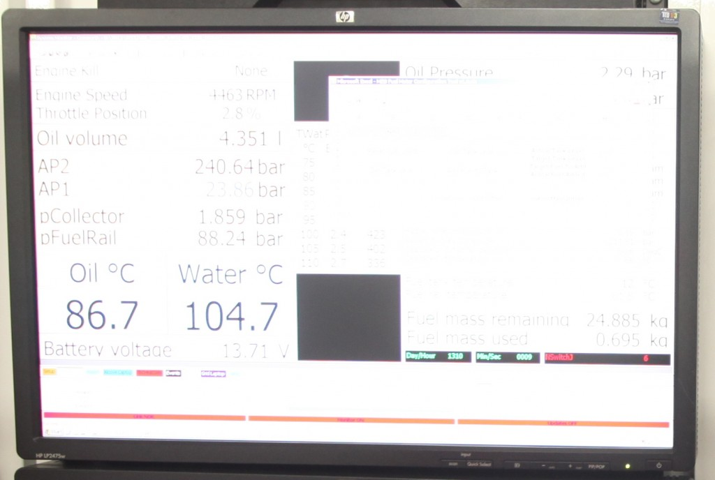 Oil telemetry data viewed from the pit garage