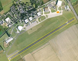 IWM Duxford the 1.5km run way , taxi way and FIF1 Marquee (orange) (Via Google Maps)