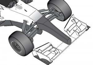 With a stepped chassis, the bulkhead stepped up to the max 625mm chassis height, leaving a step between the nose and chassis