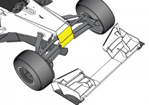The bulkhead (yellow) is 100mm lower than the old one (dotted). It expected to lead to a gently sloped chassis